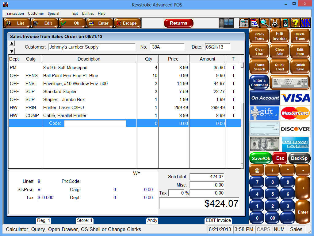 Click to view Keystroke Advanced POS Software 7.1x screenshot